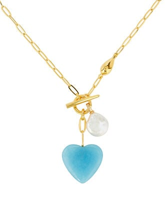Heart Strings Pendant Necklace, BLUE, hi-res