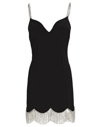 Crystal Fringed Mini Dress, BLACK, hi-res