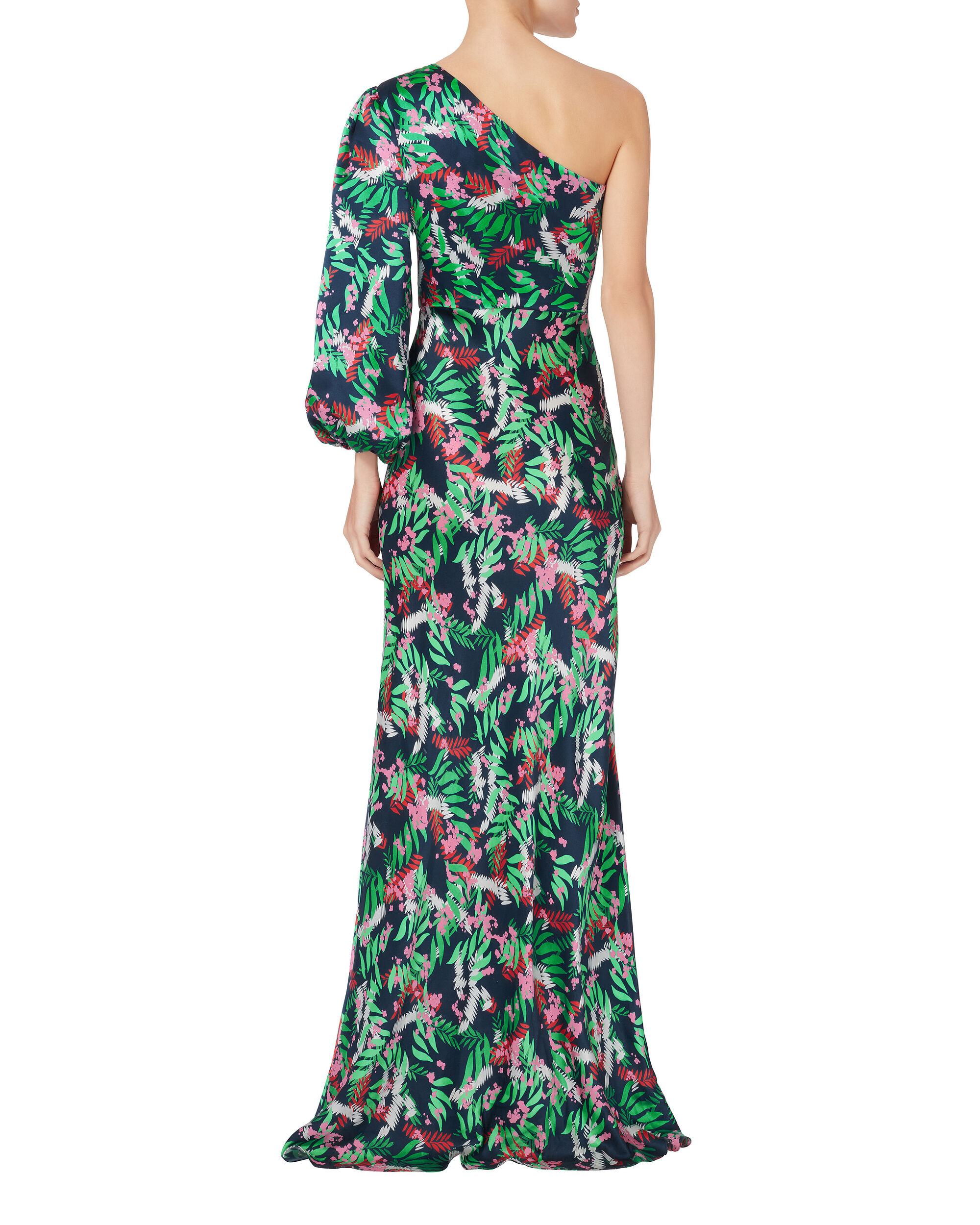 Lily One Shoulder Dress, GREEN, hi-res