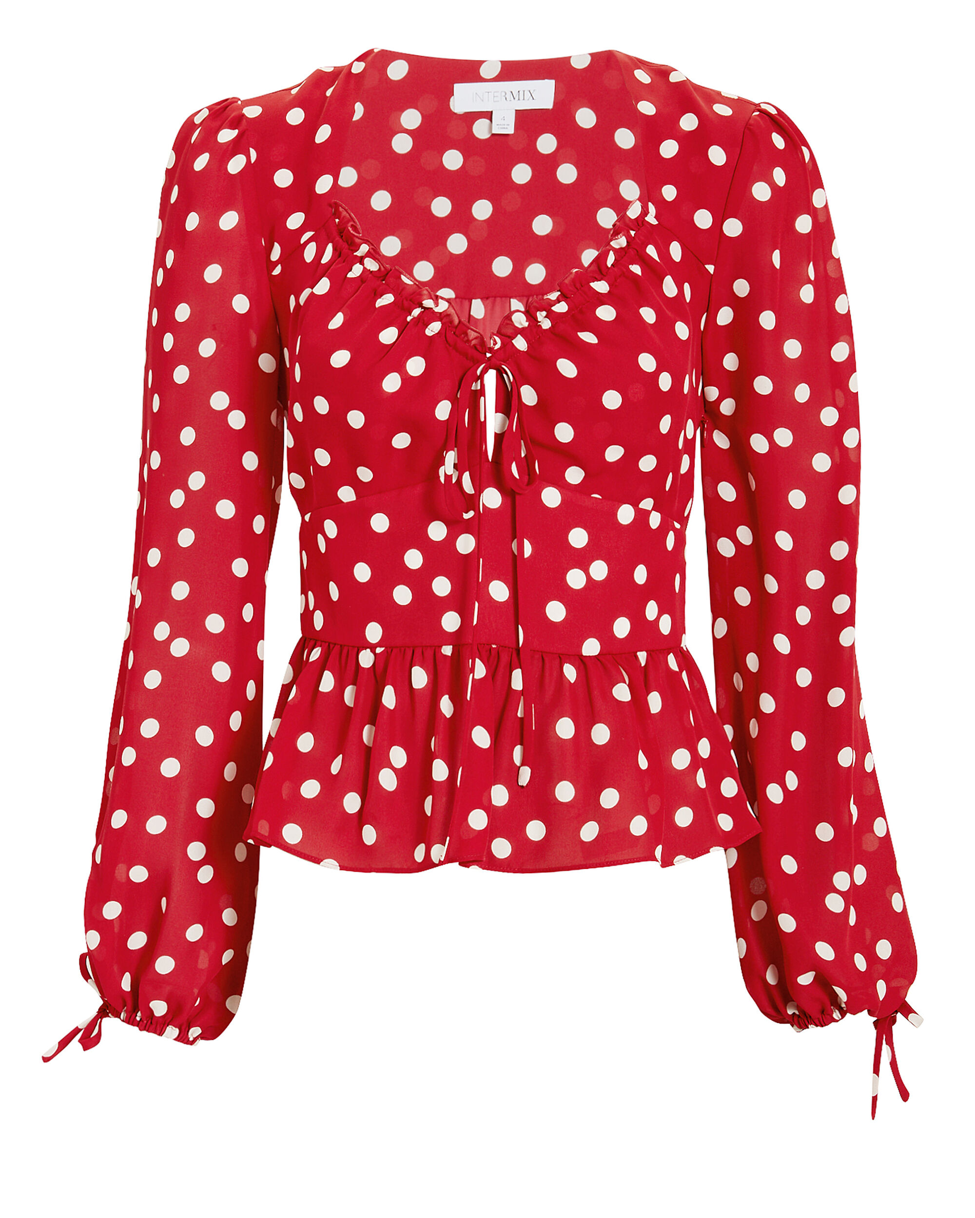 Eve Polka Dot Top, RED/WHITE, hi-res