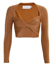 Bambi Long Sleeve Crop Top, BROWN, hi-res