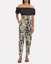 Abstract Printed Cotton-Linen Pants, IVORY/BLACK ABSTRACT PRINT, hi-res