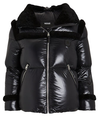 Miya Shearling-Trimmed Cropped Puffer, BLACK, hi-res