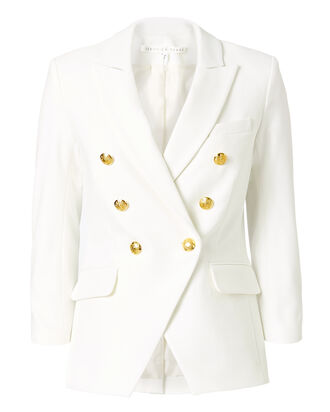 Empire Double-Breasted Blazer, WHITE, hi-res