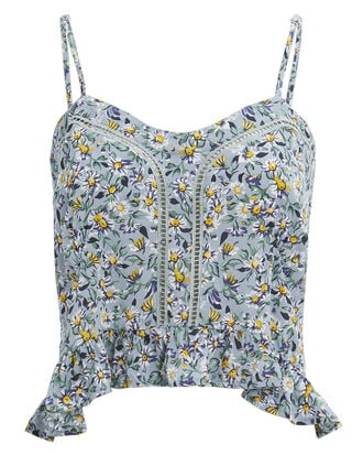 Daisy Amore Cropped Cami, BLUE FLORAL, hi-res