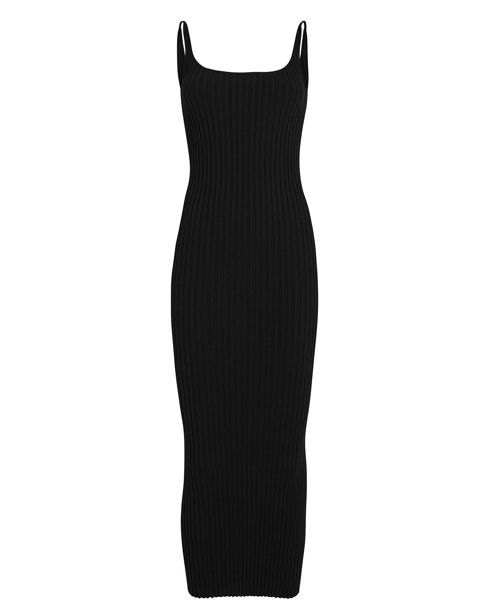 Ribbed Knit Maxi Dress, BLACK, hi-res