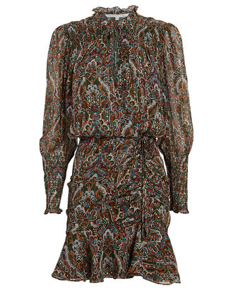 Armeria Lurex Paisley Mini Dress, DARK GREEN/ORANGE, hi-res