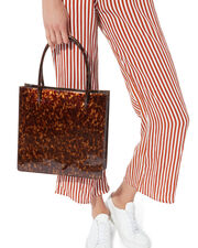 Anais Tortoise Patent Leather Tote, BROWN, hi-res