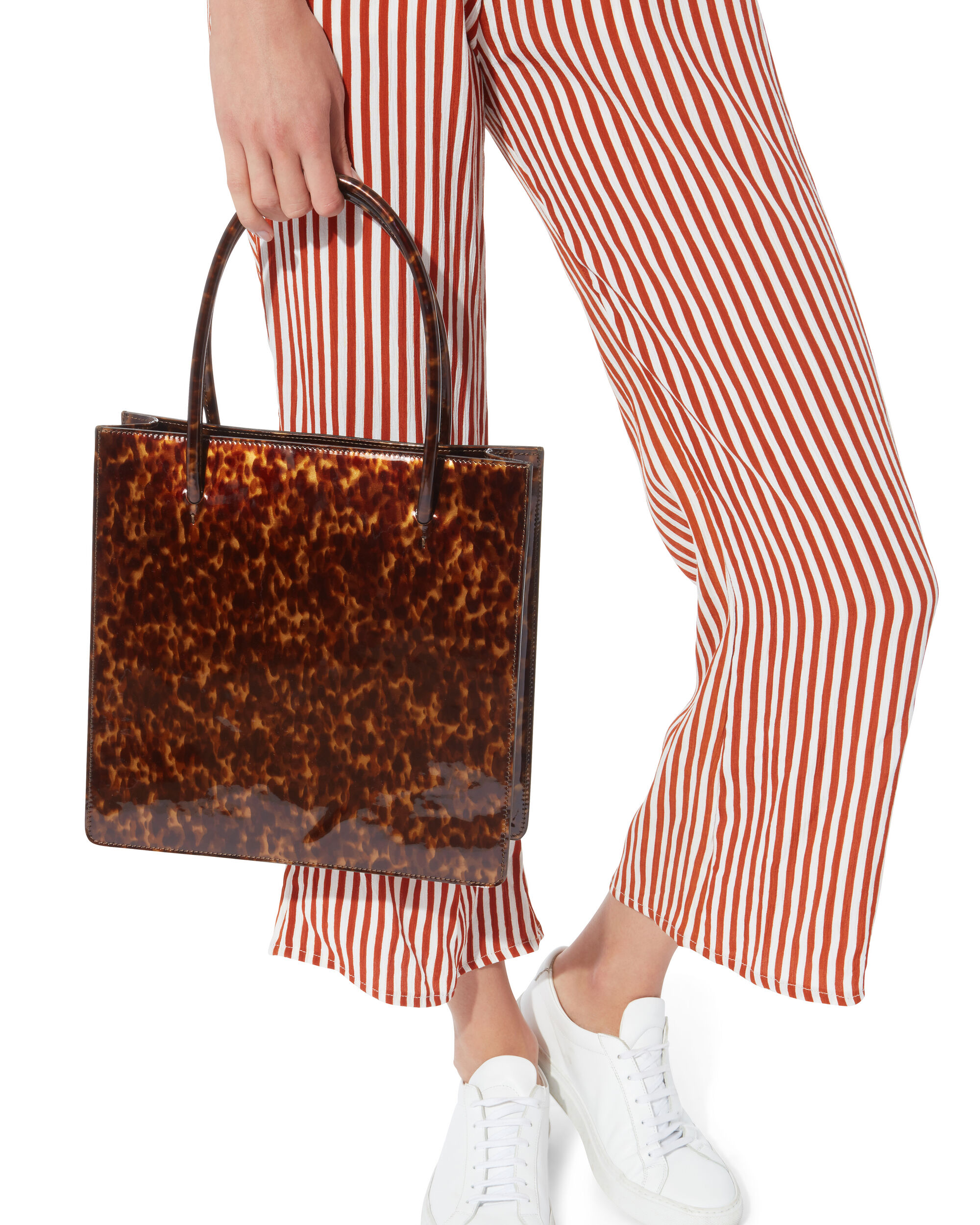 Anais Tortoiseshell Patent Leather Tote, BROWN, hi-res