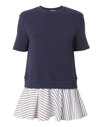 Striped Peplum Hem Sweatshirt, BLUE, hi-res