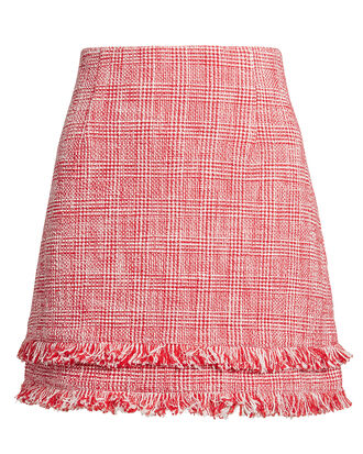 Marlena Tweed Mini Skirt, RED/WHITE, hi-res