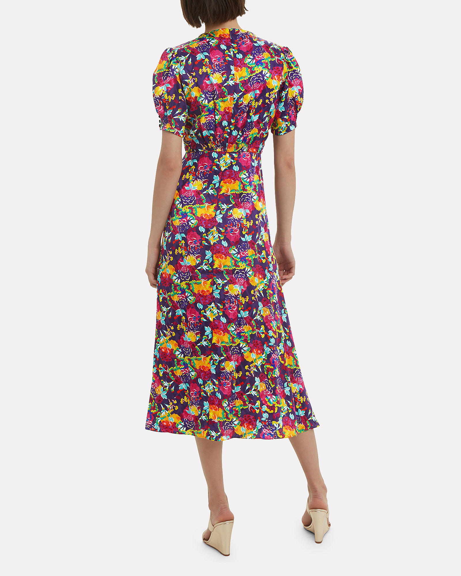 Lea Camellia Floral Silk Dress, MULTI, hi-res