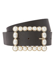 Joan Pearl Buckle Waist Belt, BLACK, hi-res