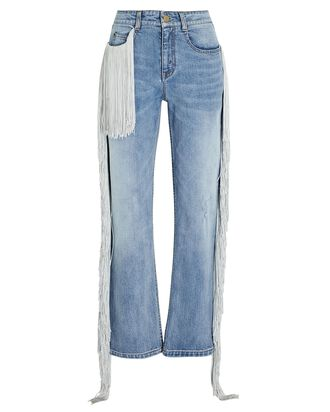 Beau Fringed Straight-Leg Jeans, LIGHT WASH DENIM, hi-res