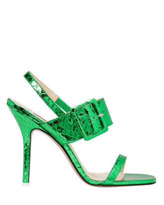 Mariah Python Slingback Buckle Pumps, GREEN, hi-res