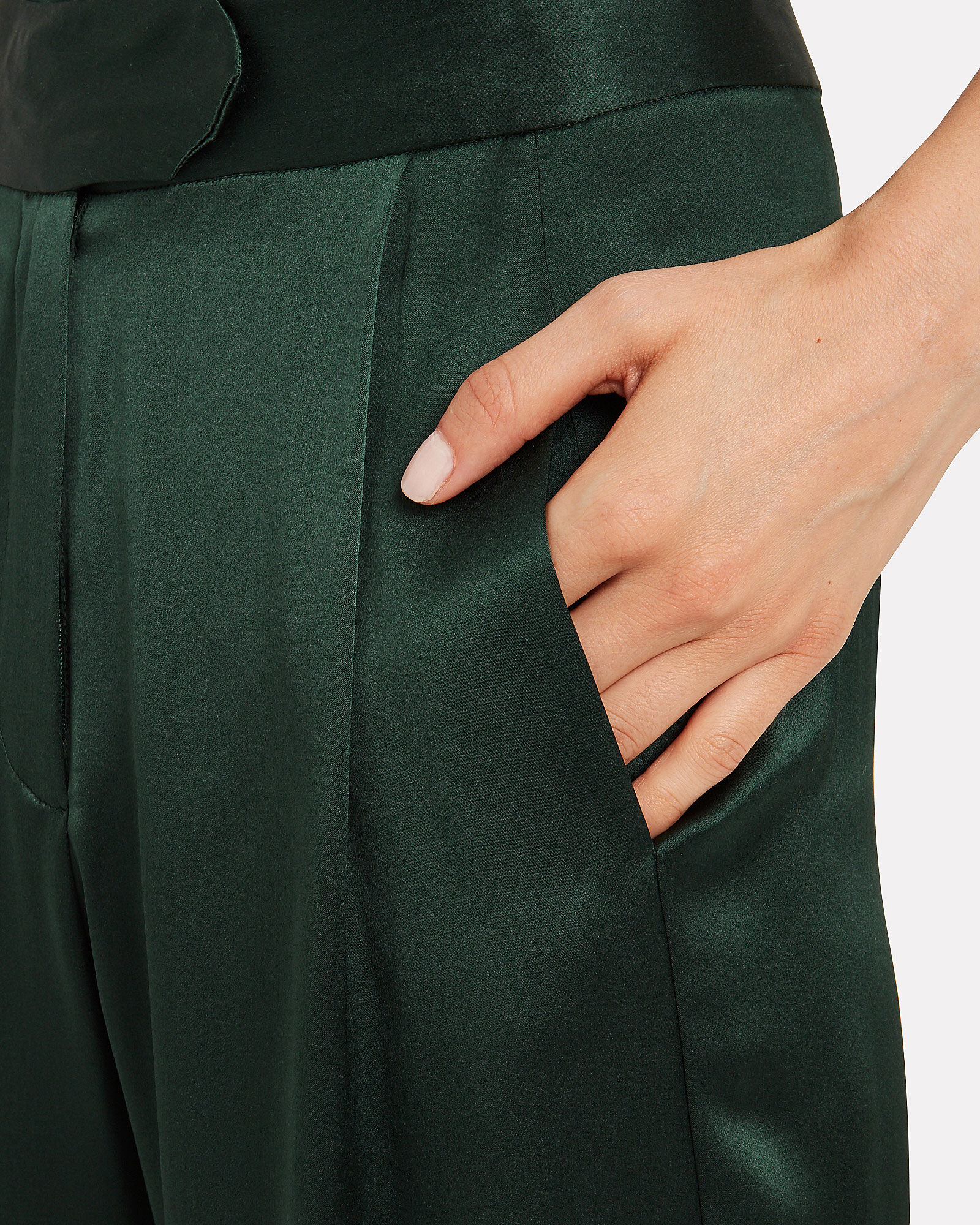 Silk Charmeuse Wide Leg Trousers, FOREST GREEN, hi-res