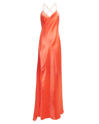 Tangerine Strappy Wrap Gown, TANGERINE, hi-res