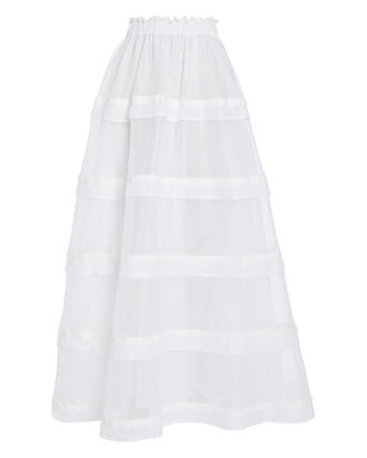 Lumiere Tiered Linen Skirt, WHITE, hi-res