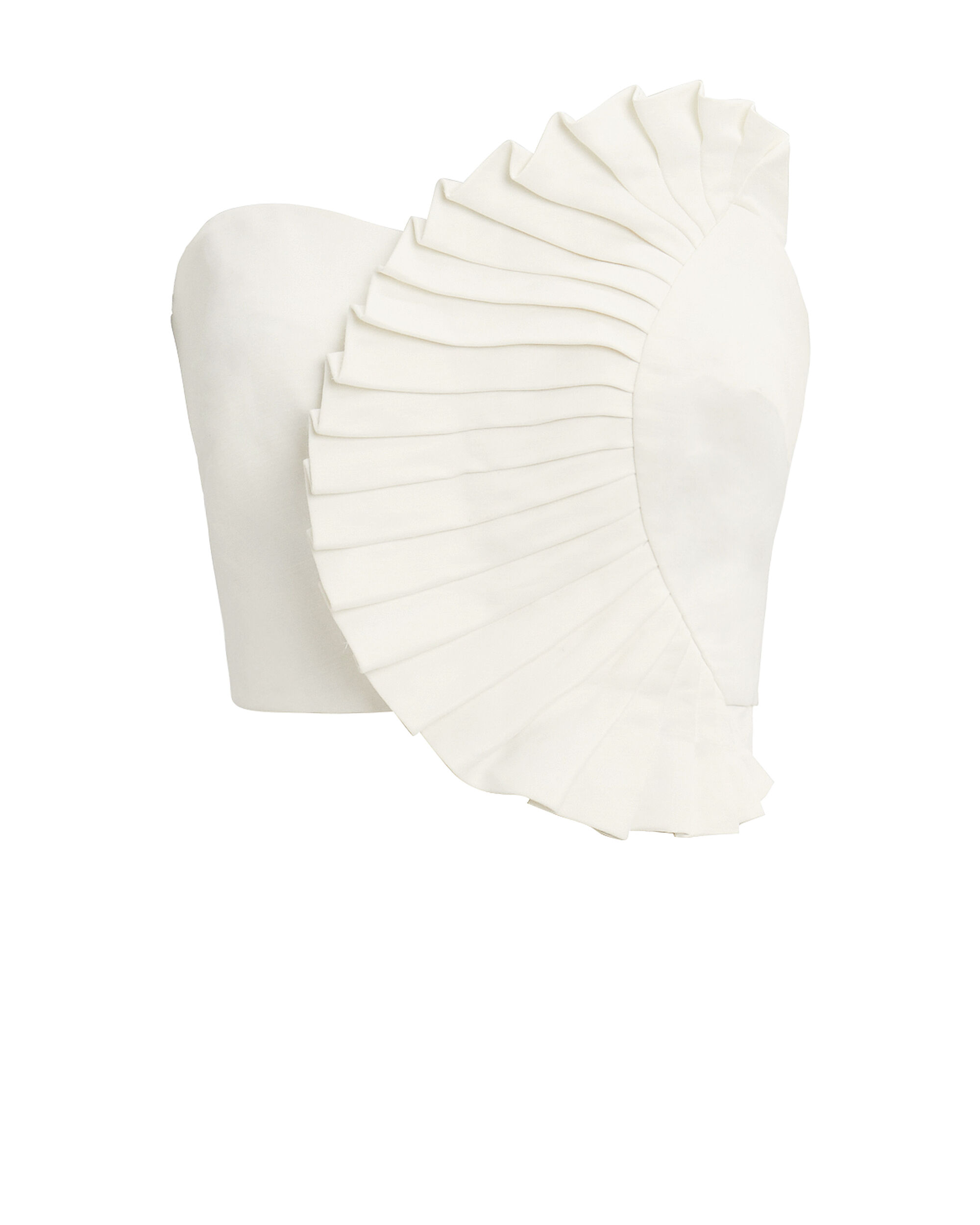 Kyle Ruffle Bustier Top, WHITE, hi-res