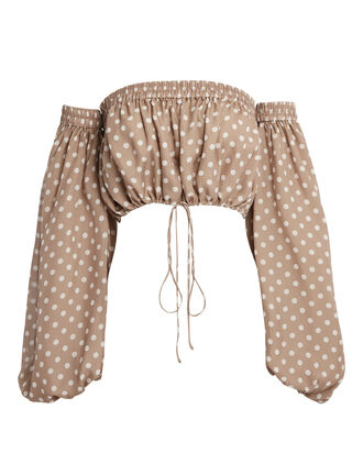 Rosaline Silk Polka Dot Crop Top, BEIGE, hi-res