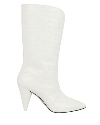 Betta Croc-Embossed White Boots, WHITE, hi-res