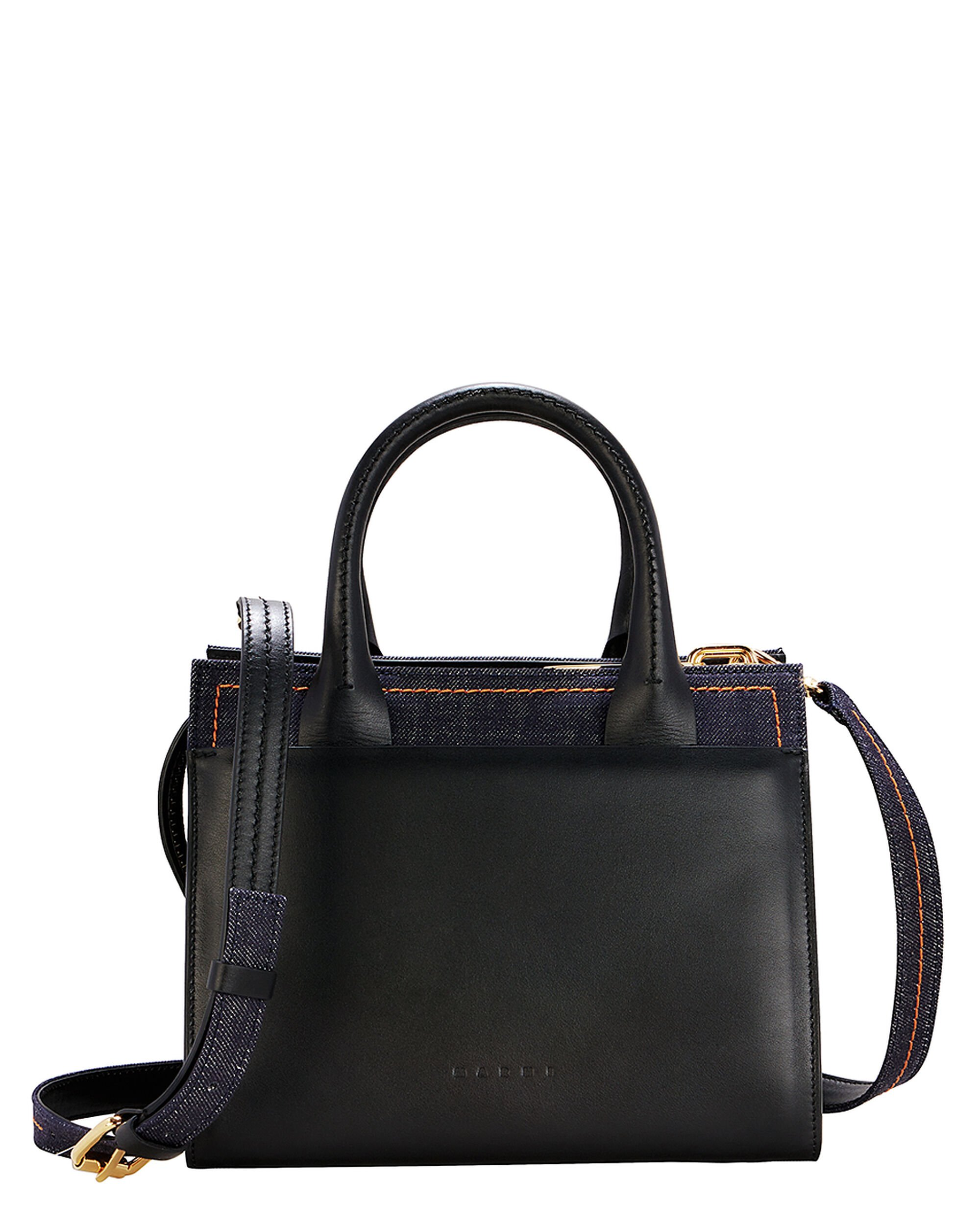 Denim Shoulder Bag, BLACK, hi-res