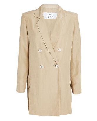 Leon Double-Breasted Blazer, BEIGE, hi-res