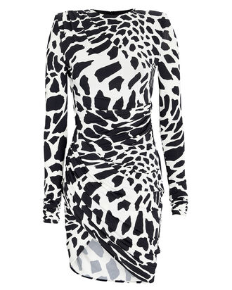 Draped Giraffe Print Mini Dress, BLACK/WHITE, hi-res