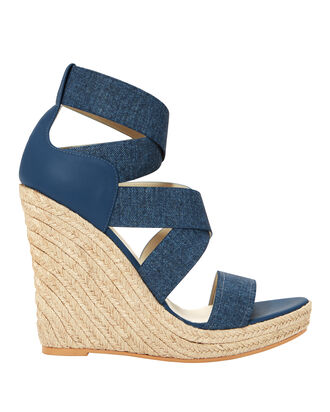 Fella Denim Wedges, BLUE-MED, hi-res