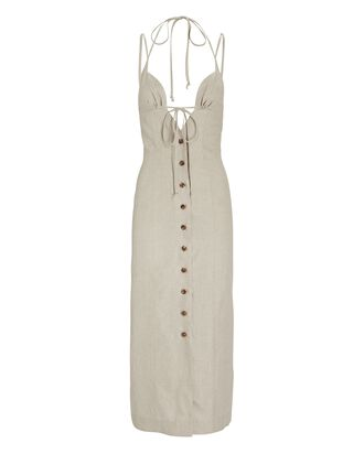 Linen Halter Midi Dress, IVORY, hi-res