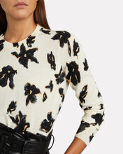 Painted Iris Crewneck Wool Sweater, IVORY/BLACK, hi-res