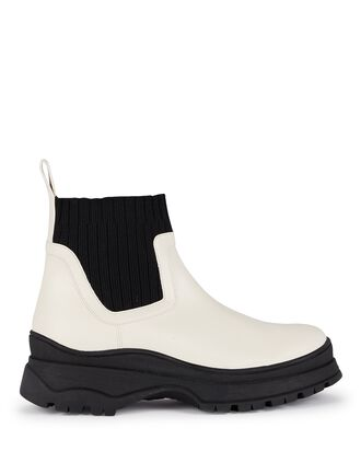 Bow Lug Sole Sock Ankle Boots, WHITE/BLACK, hi-res