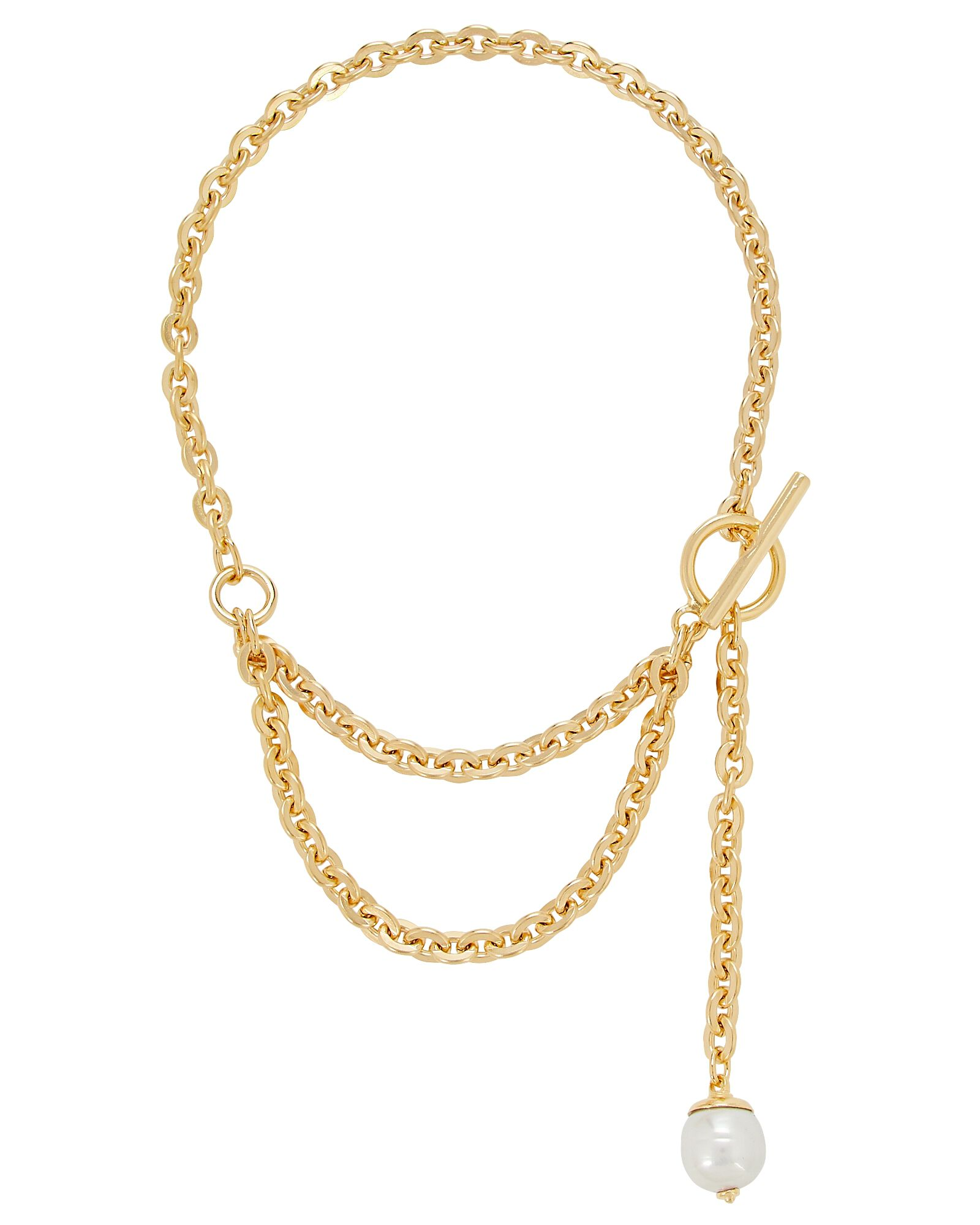 Layered Pearl Lariat Necklace, GOLD, hi-res