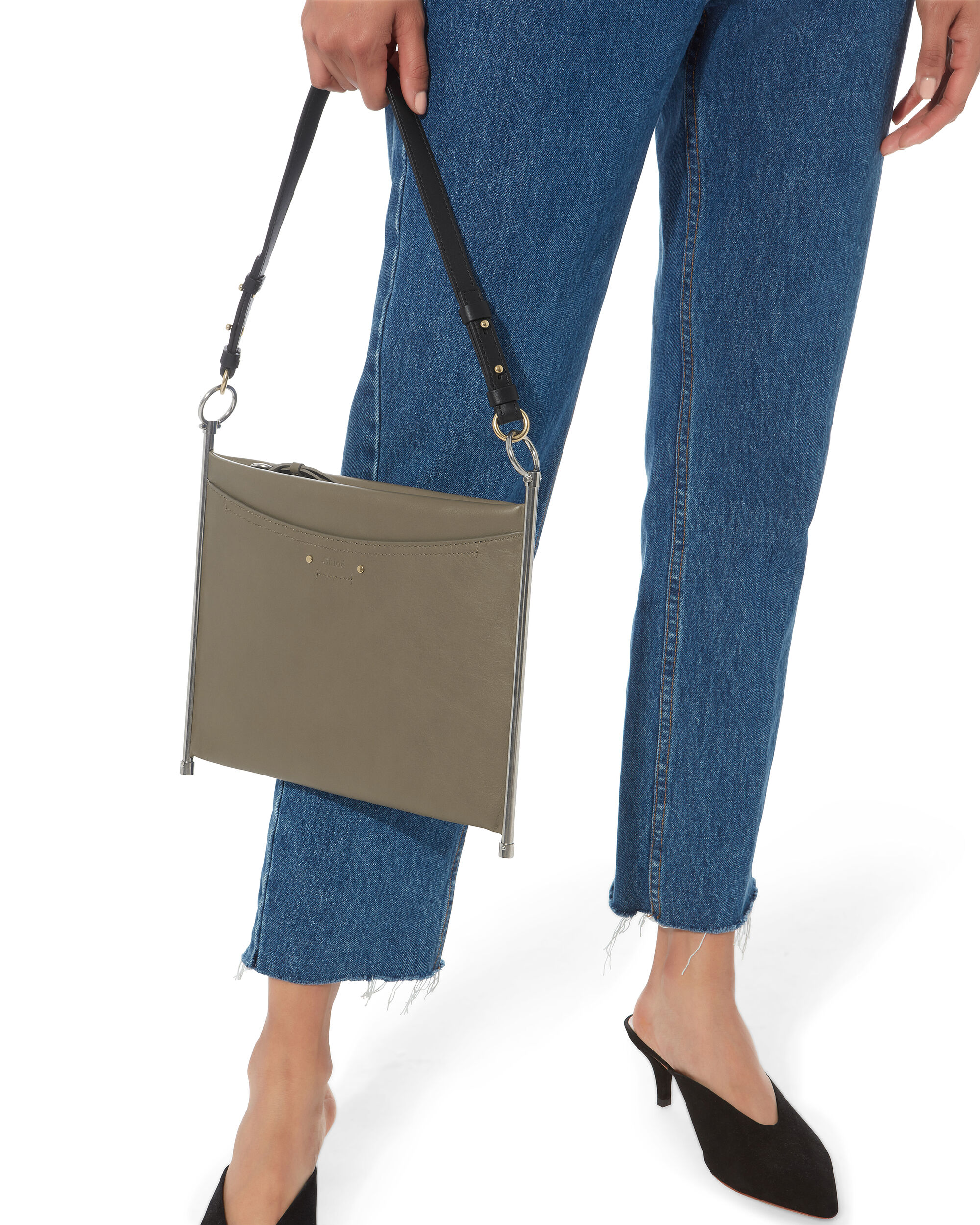 Crossbody Leather Pouch Bag, GREY, hi-res