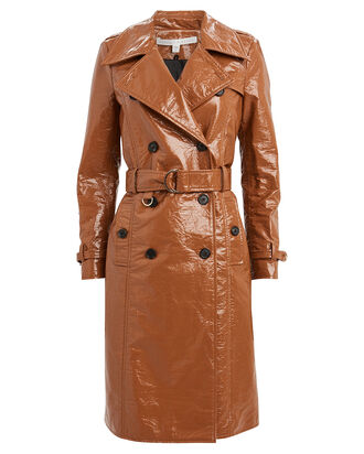 Finnick Glossy Dickey Trench Coat, BROWN, hi-res