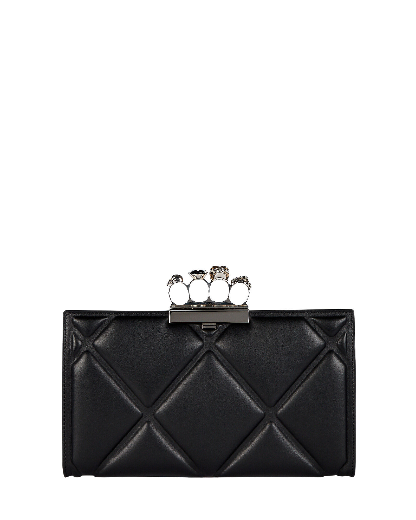 Skull Four Ring Quilted Clutch, BLACK, hi-res