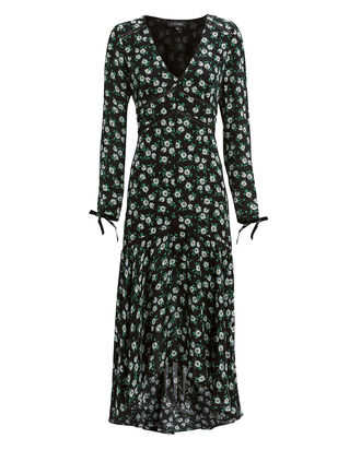 Athena Silk Floral Tie Sleeve Dress, BLACK, hi-res