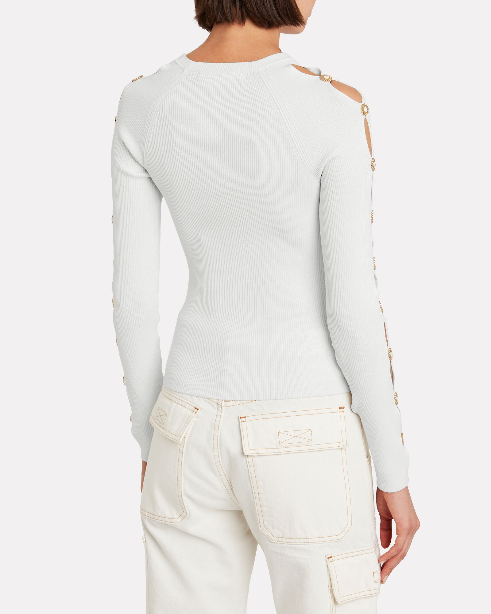 Rib Knit Button Sleeve Top, WHITE, hi-res