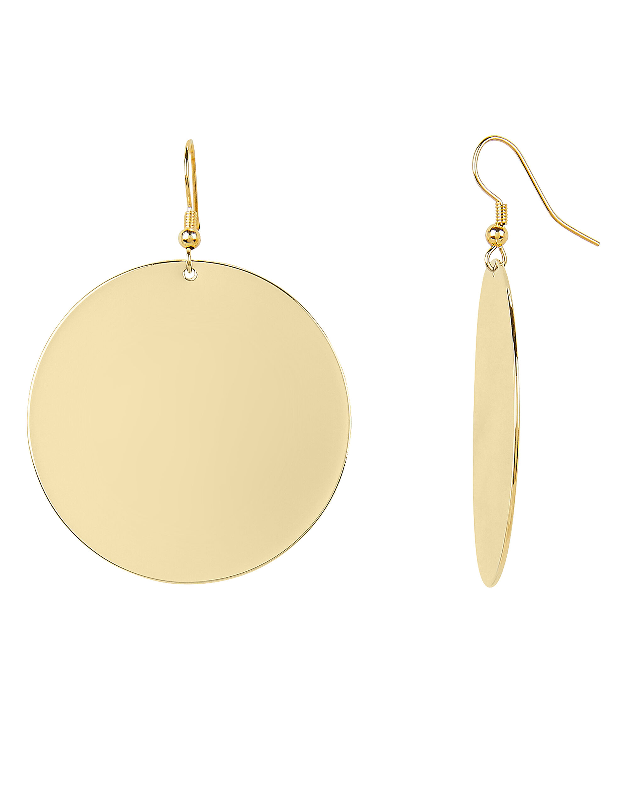 Gold Disc Earrings, GOLD, hi-res