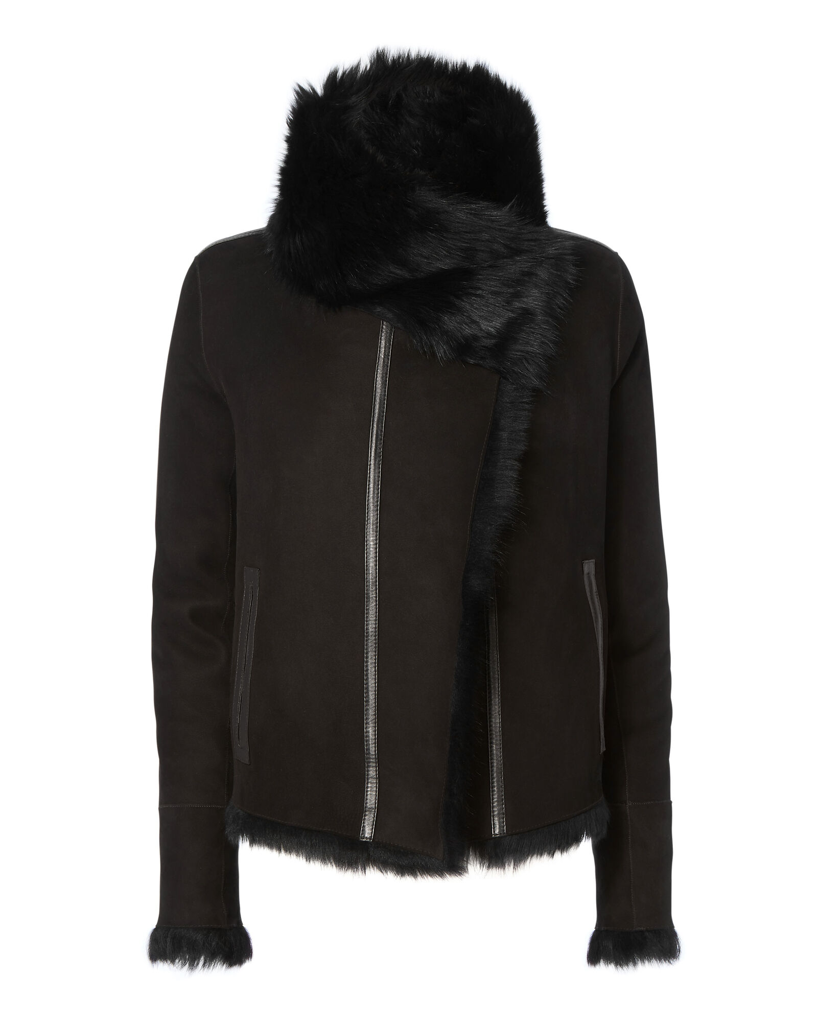 Reversible Shearling Moto Jacket, BLACK, hi-res