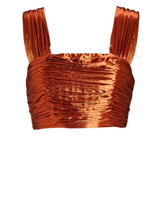 Nicole Metallic Satin Crop Top, ORANGE, hi-res