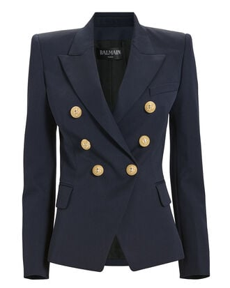 Classic Double-Breasted Navy Blazer, NAVY, hi-res