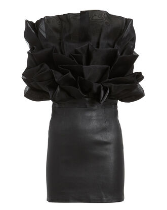 Flower Ruffle Stretch Leather Dress, BLACK, hi-res