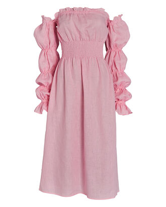 Michelin Smocked Linen Midi Dress, PINK, hi-res