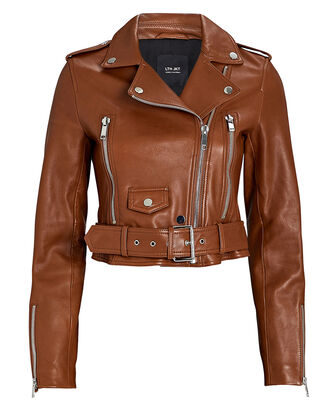 Mya Cropped Leather Moto Jacket, BROWN, hi-res