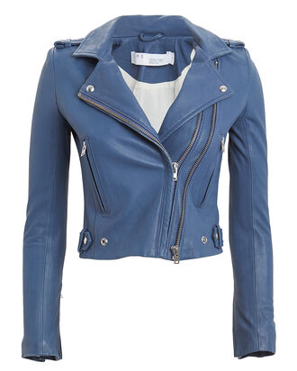Dylan Cropped Leather Moto Jacket, BLUE, hi-res