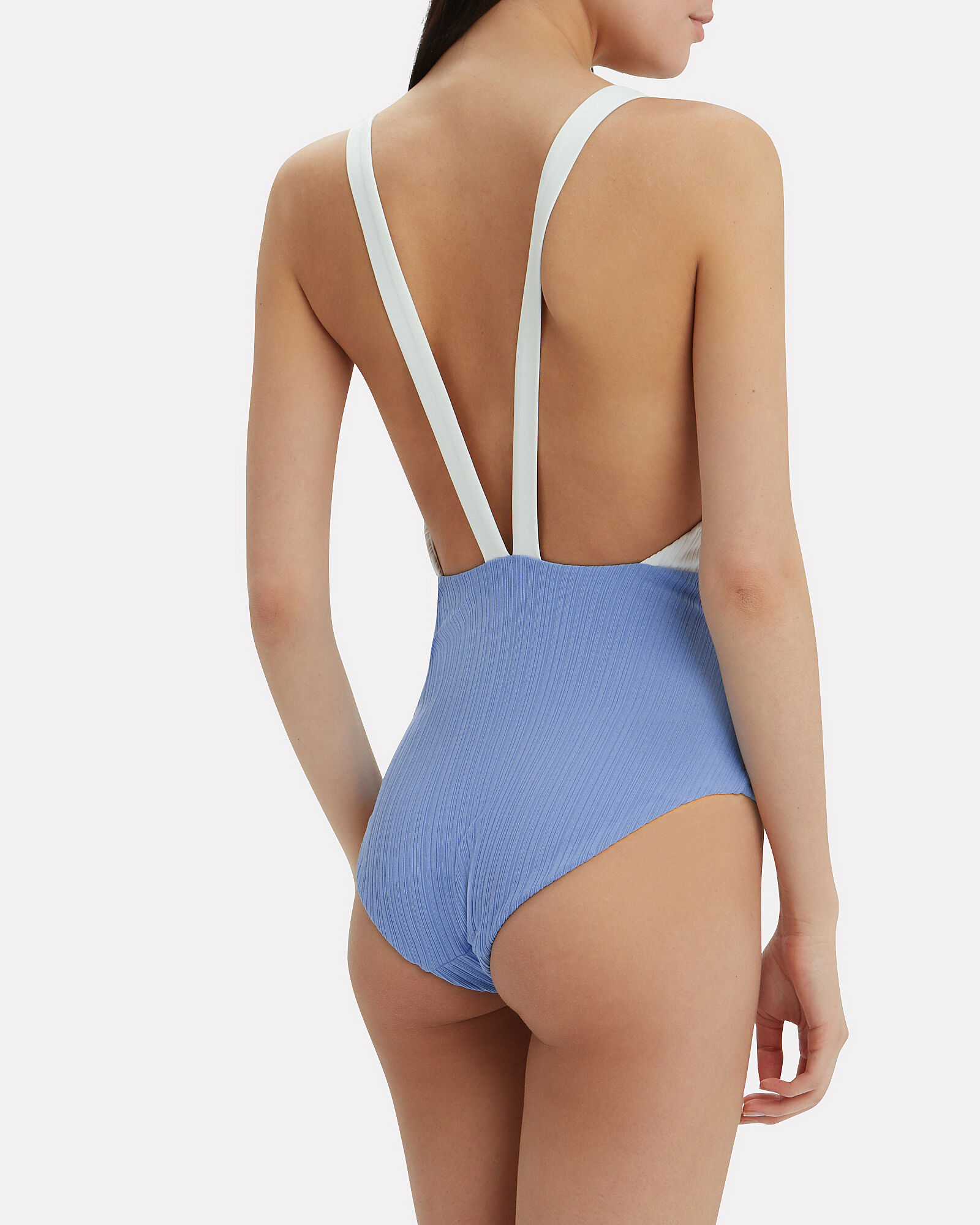 Iona Lace-Up One Piece Swimsuit, BLUE-MED, hi-res