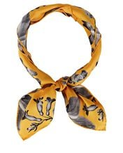 Floral Skull Silk Square Scarf, YELLOW, hi-res