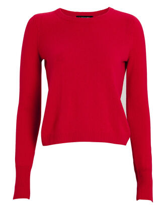 Valencia Cashmere Crewneck Sweater, CHERRY, hi-res