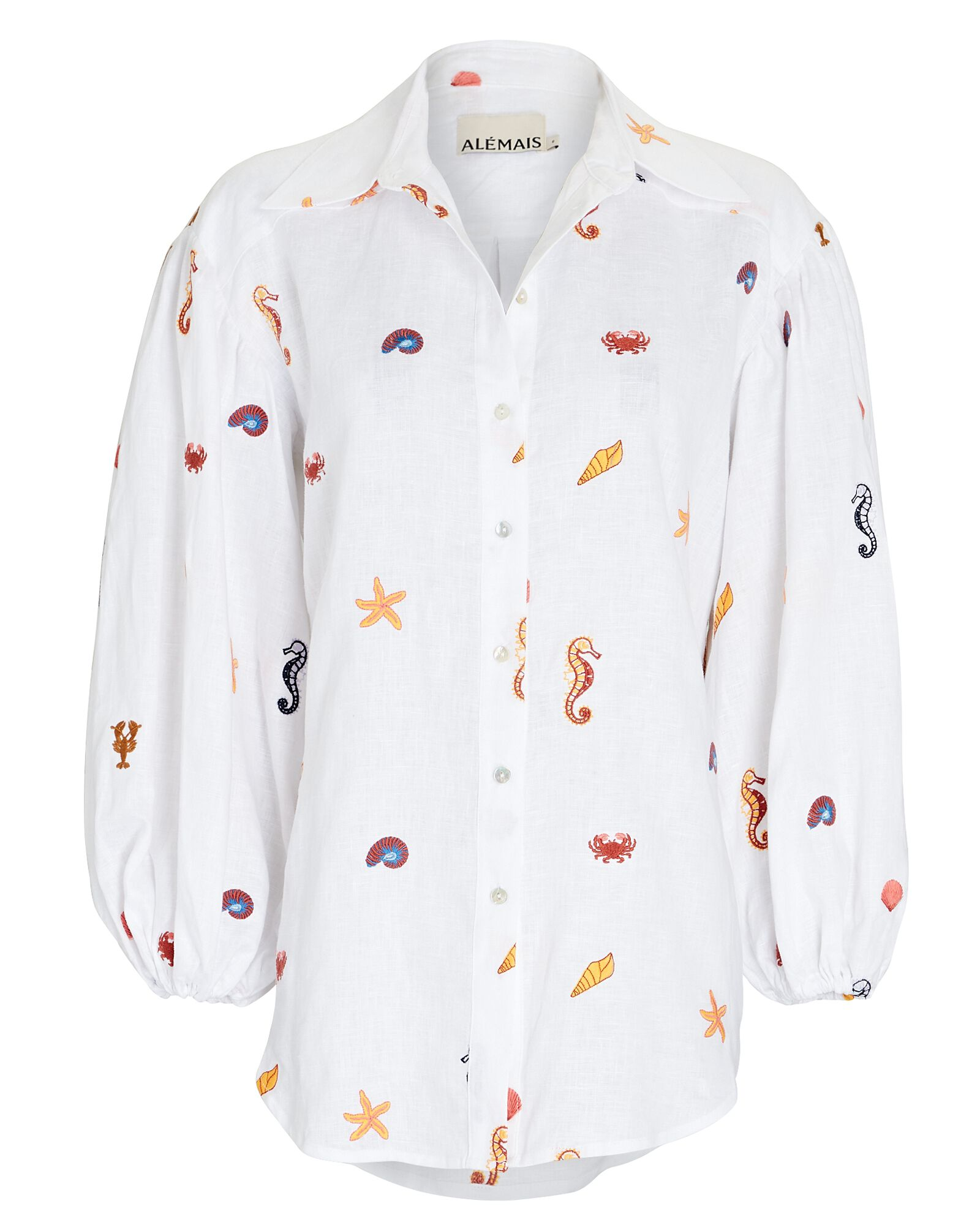 Under The Sea Embroidered Shirt, IVORY, hi-res